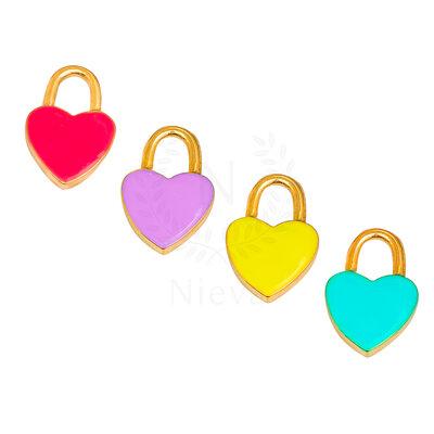 Pingente Coração Ouro: Pink, Amarelo, Lilás e Turquesa (Escolha a sua cor) - Acompanha contra argola