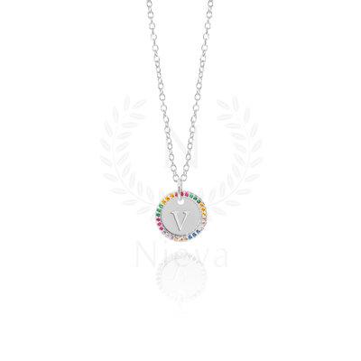 Colar Medalha Inicial Cravejado Rainbow Ródio (Sob encomenda)