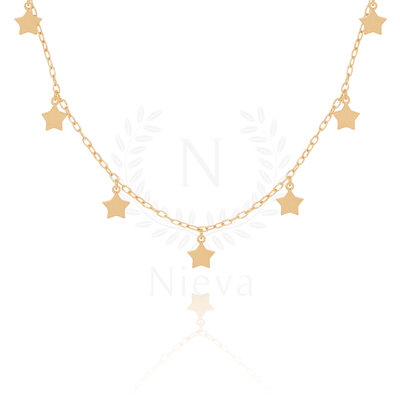 Colar Choker Star Ouro - 36 cm