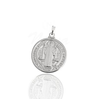 Pingente Medalha de São Bento Ródio G