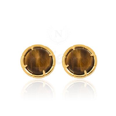 Brinco Chic Olho de Tigre Ouro (Pedra Natural)