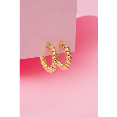 Argola Trança Ouro 2,5 cm