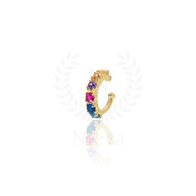 Brinco Piercing Babi Rainbow Ouro