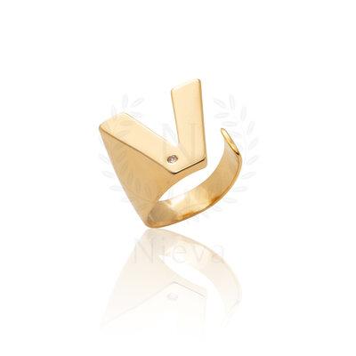 Anel Letra Ouro (Escolha o seu tamanho)