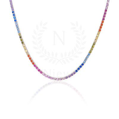 Colar Riviera Rainbow Prata 925 - 40 cm - 2 mm
