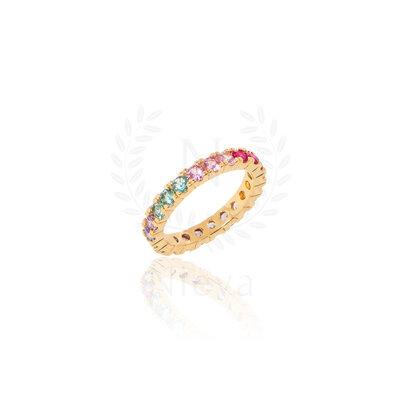 Aliança Candy Rainbow Ouro (Prata 925)