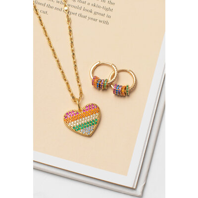 Pingente Coração Rainbow Ouro
