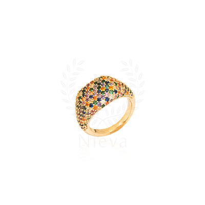 Anel Dedinho Luxo Rainbow Ouro