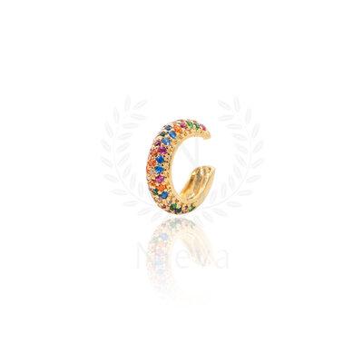 Brinco Piercing Nanda Cravejado Rainbow Ouro