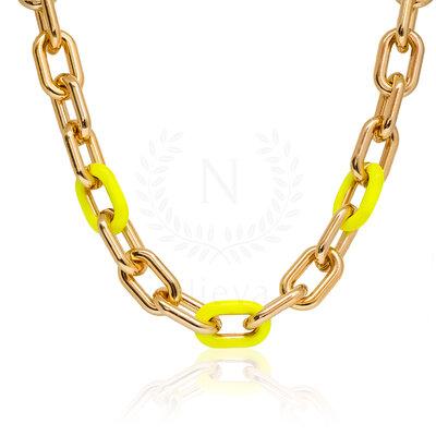 Colar Elos Amarelo Neon (41 cm   Elo 1,5 cm)