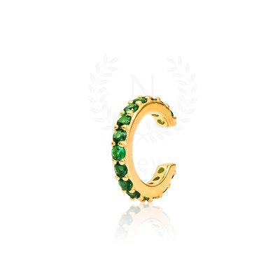 Brinco Piercing Sarah Esmeralda Ouro (Prata 925)