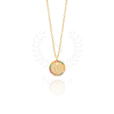 Colar Medalha Inicial Cravejado Rainbow Ouro (Sob encomenda)