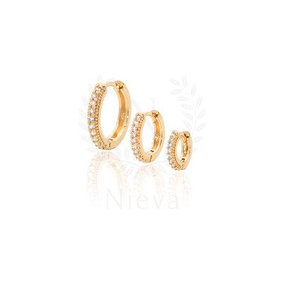 Brinco Argola Cravejado Ouro - Escolha o tamanho p/m/g