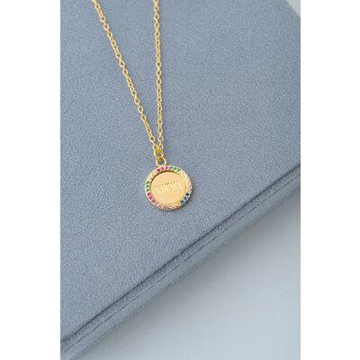 Colar Medalha Nome Cravejado Rainbow Ouro (Sob encomenda)