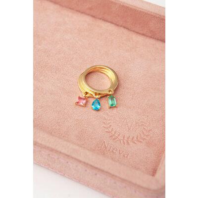 Trio de Anéis Pingente Pedra - Azul, Rosa e Verde