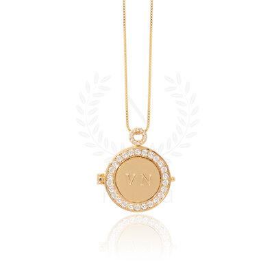 Colar Relicário Mandala Ouro White (Sob encomenda)