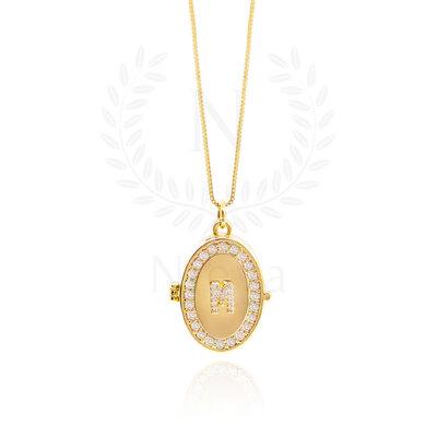 Colar Relicário White Ouro - (Medida da Corrente:45 cm / 60 cm / 90 cm)