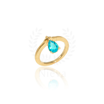 Anel Pingente Pedra Azul
