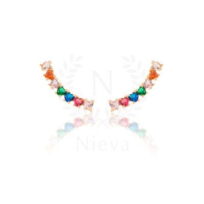 Brinco Ear Cuff Coraçãozinho Rainbow Ouro