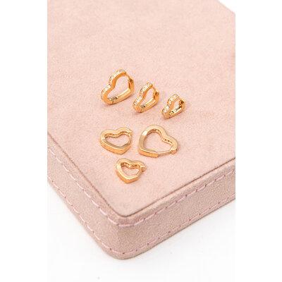 Brinco Argola Coração Cravejado Ouro (Escolha o seu tamanho - P/M/G)