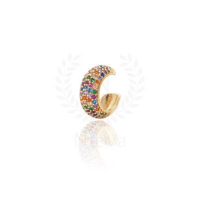 Brinco Piercing Luiza Cravejado Rainbow Ouro