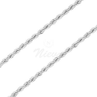 Corrente Corda Italiana Ródio - 50 cm e 80 cm