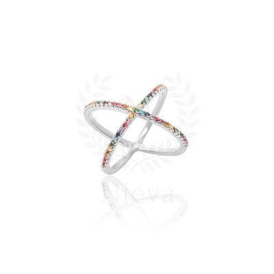 Anel Cruzado Rainbow Prata 925