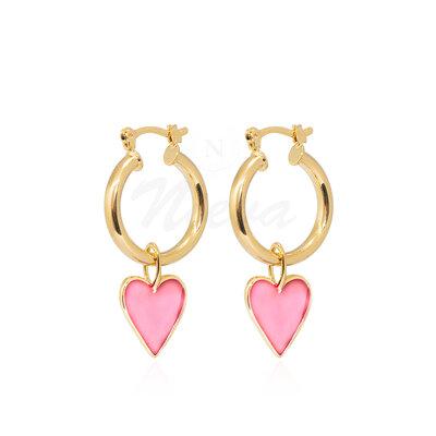 Brinco Argola Coração Esmaltado Rosa M Ouro