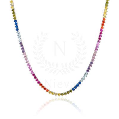 Colar Riviera Bolinha Rainbow 3 pontas - 39 cm