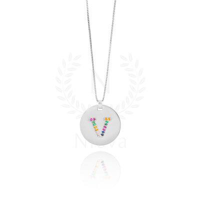 Colar Medalha Inicial Rainbow Ródio (Sob encomenda)