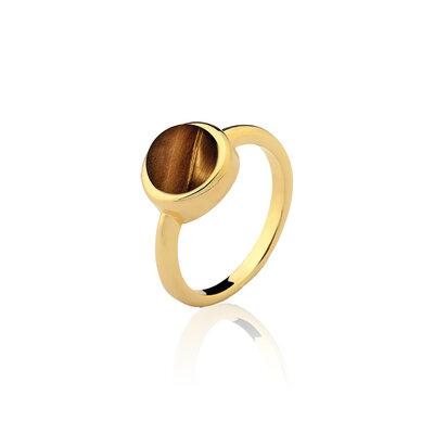 Anel Olho de Tigre Pedra Natural Ouro