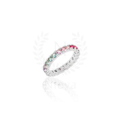 Aliança Candy Rainbow Prata 925