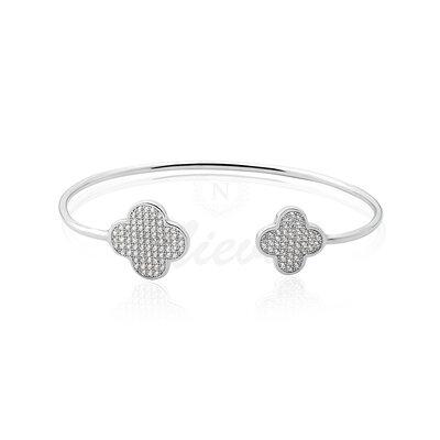 Bracelete Van Cleef Inspired Cravejado Prata