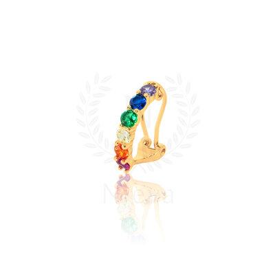 Brinco Piercing Sofia Rainbow Ouro (com fecho)