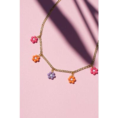 Colar Florzinha (Laranja, Rosa e Lilás) Ouro