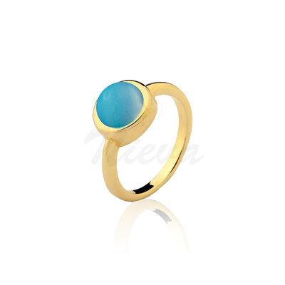 Anel Ágata Azul Céu Pedra Natural Ouro