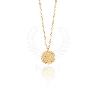 Colar Medalha Inicial Cravejado White Ouro (Sob encomenda)