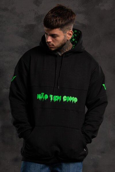 Moletom Crown Sleeve - Preto com Verde