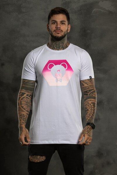 Camiseta Hexagon Pink - Branco