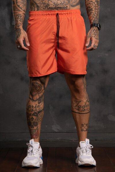 Shorts Striped Background - Laranja