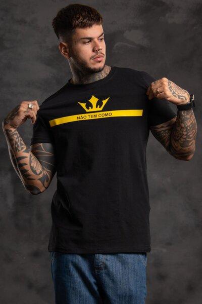Camiseta Strip Crown - Preta com Amarelo