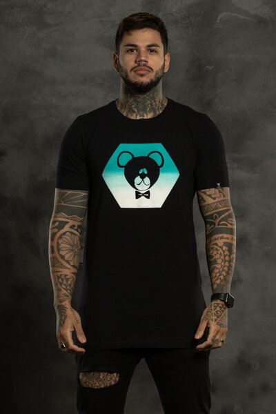 Camiseta Hexagon Blue - Preto