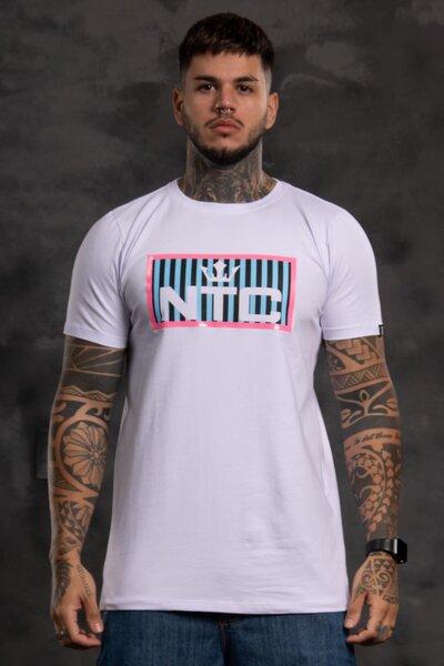 Camiseta Collorfull Striped - Branco com Azul