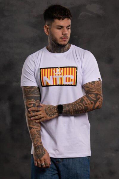 Camiseta Collorfull Striped - Branco com Amarelo