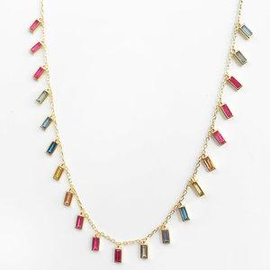 Colar Baguetes Rainbow Prata 925