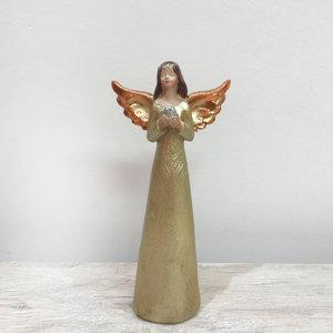 Anjo com Asas Douradas com Pombinha Prateada nas Mãos