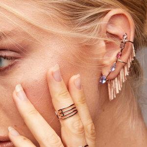 Ear Cuff Franja Rosé
