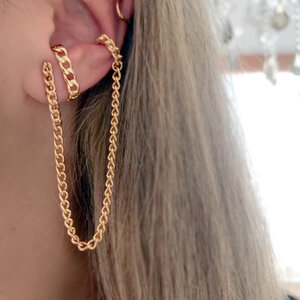 Ear Hook Corrente com Fio e Piercing