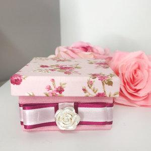 Caixa Montada Floral Rosa com Anjo e Dezena - 9,0 x 9,0