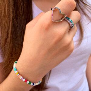 Anel Colorful Heart Prata 925